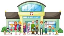 A big family outside the hospital